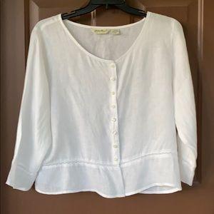 Size XL Misses, 100% Linen 3/4 sleeve white blouse